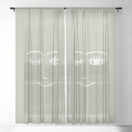 Wink (Linen Sage) Sheer Curtain