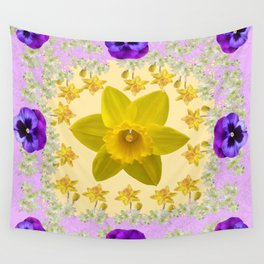 PURPLE PANSIES & DAFFODILS FLOWERS GARDEN MODERN ART Wall Tapestry