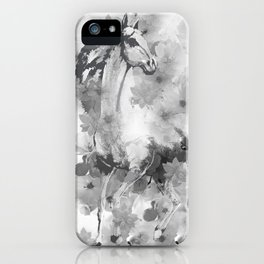 HORSE AND CHERRY BLOSSOMS IN BLACK AND WHITE iPhone Case
