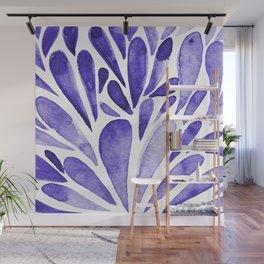 Watercolor artistic drops - electric blue Wall Mural