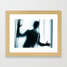 Figure behind a curtain. Framed Art Print