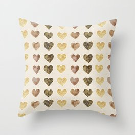 Gold and Chocolate Brown Hearts Throw Pillow