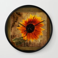 Vintage Sunflower Framed Wall Clock