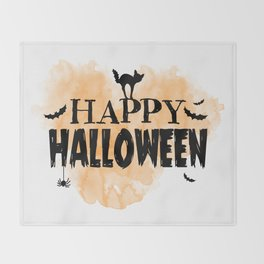 Happy Halloween   Spooky Throw Blanket