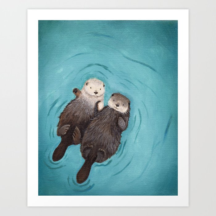 Otterly Romantic - Otters Holding Hands Kunstdrucke