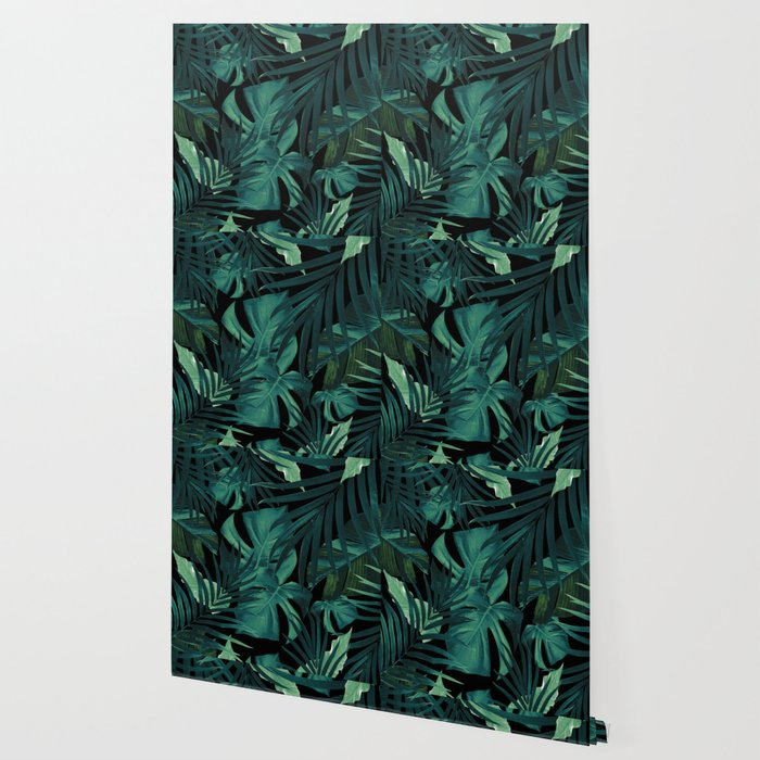 Tropical Jungle Night Leaves Pattern 1 Tropical Decor Art Society6 Wallpaper