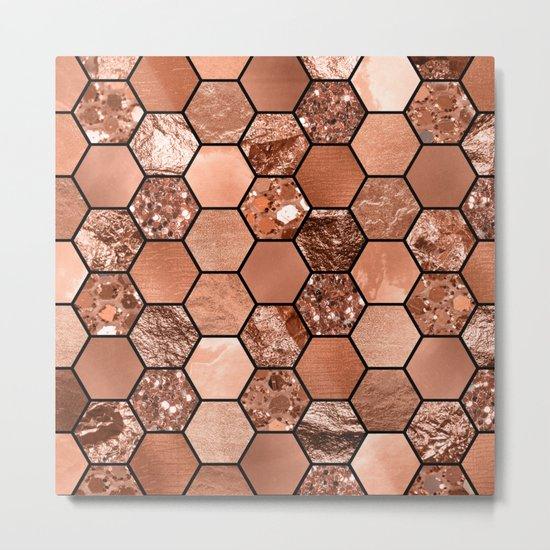 Rose gold hexaglam Metal Print