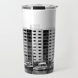 Waterfront Condos In Black & White Travel Mug