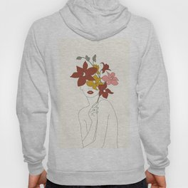 Colorful Thoughts Minimal Line Art Woman with Orchids Hoody