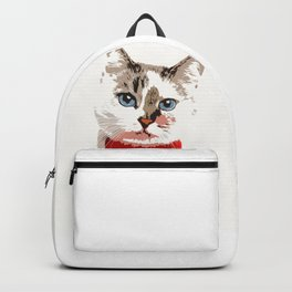 Cat in red bow tie Backpack
