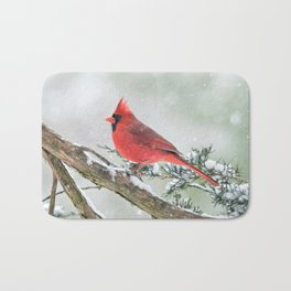 Cardinal Holding Steady in the Storm Bath Mat