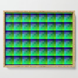 Lime And Deep Blue Checkered Pixel Art Pattern Serving Tray