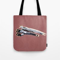 mass effect Tote Bags featuring Mass Effect by Simon Alenius