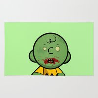 charlie brown Area & Throw Rugs featuring Zombie Charlie Brown by rkbr