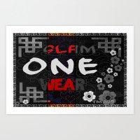 Slam One Wear Chinese Garden B/W Art Print