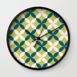 Off White, Dark Yellow and Tropical Dark Teal Inspired by Sherwin Williams 2020 Trending Color Oceanside SW6496 4 Leaf Minimal Flower Petal Pattern 2 Wall Clock