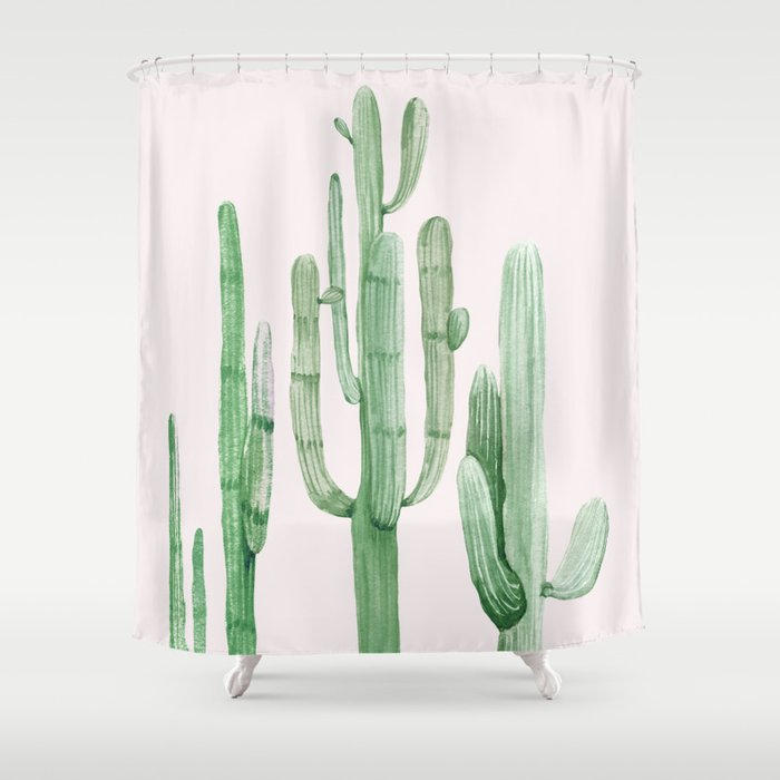 Three Amigos Pink + Green Shower Curtain