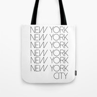 new york city Tote Bags featuring New York New York City by Stylish in Sequins