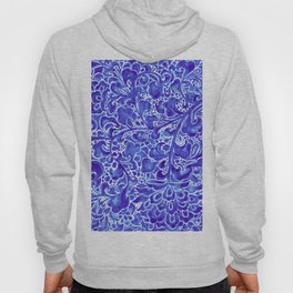 Watercolor Chinoiserie Block Floral Print in Blue Porcelain Tiles Hoody