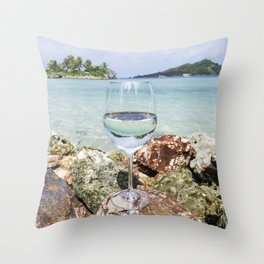 Wine View in Paradise Throw Pillow