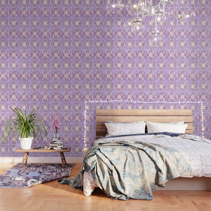 Lavender and White Moroccan Boho Wallpaper by lauragordon