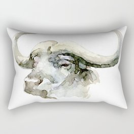 Buffalo, Bison, Watercolor Handmade Painting Rectangular Pillow
