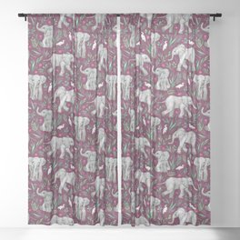 Baby Elephants and Egrets in Watercolor - burgundy red Sheer Curtain