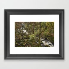 Lodore Falls waterfall after heavy rain. Borrowdale, Cumbria, UK. Framed Art Print
