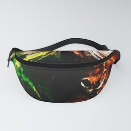 horse wild mane watercolor splatters Fanny Pack