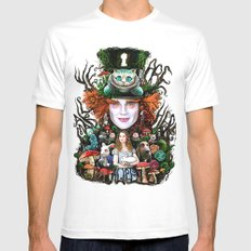 We are all mad here Mens Fitted Tee White MEDIUM