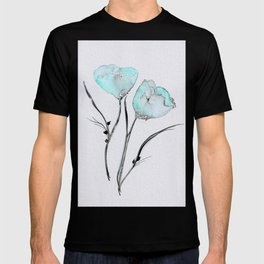 Touch of Robin's Egg Blue - Watercolor Floral Art T-shirt