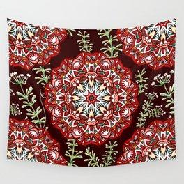 Boho Floral Mandela Pattern Wall Tapestry