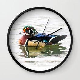 Wood Duck Three Wall Clock