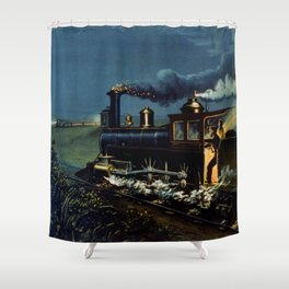 The Danger Signal: Train Scene, Currier & Ives Shower Curtain