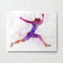 Woman runner running jumping shouting Metal Print