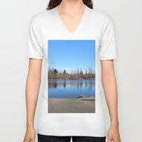 trout V-neck T-shirts featuring Trout Lake by RMK Creative