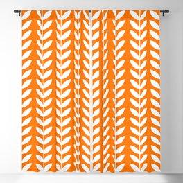 Orange and White Scandinavian leaves pattern Blackout Curtain