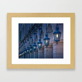 Arches and Lamps in Greece Framed Art Print