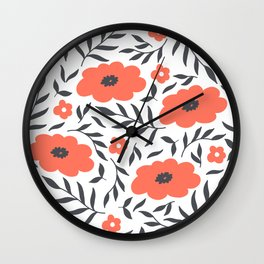 Red and Black Flowers Wall Clock