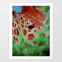 Giraffe Among the Treetops Art Print