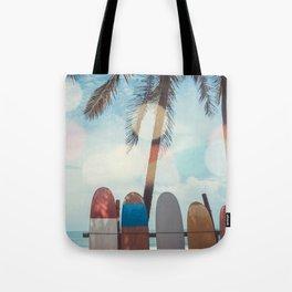 Surf Life Tropical Coastal Landscape Surfboard Scene Tote Bag