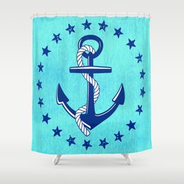 Nautical Anchor with Stars Shower Curtain