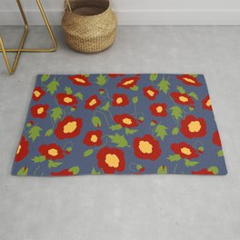 Papercut Poppies - Prussian Blue Rug