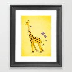 Yellow Funny Roller Skating Giraffe Framed Art Print