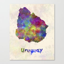 Uruguay in watercolor Canvas Print