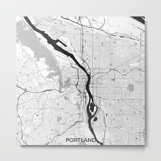 Portland Map Gray Metal Print