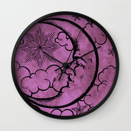 Moon vintage pink Wall Clock