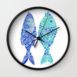 Indonesian Fish Duo – Navy & Turquoise Palette Wall Clock