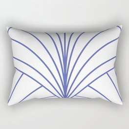 Round Series Floral Burst Cobalt on White Rectangular Pillow