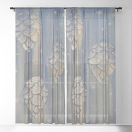 Cones in Line + Wash / Mixed Media Painting Sheer Curtain